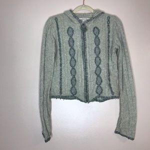 Free People wool hooded zip-up cardigan sweater M